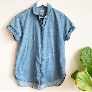 Zara Trf Denim Blue Cotton Button Down Shirt S